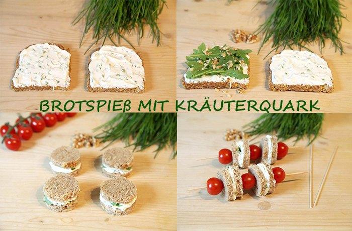Brotspieß mit Kräuterquark